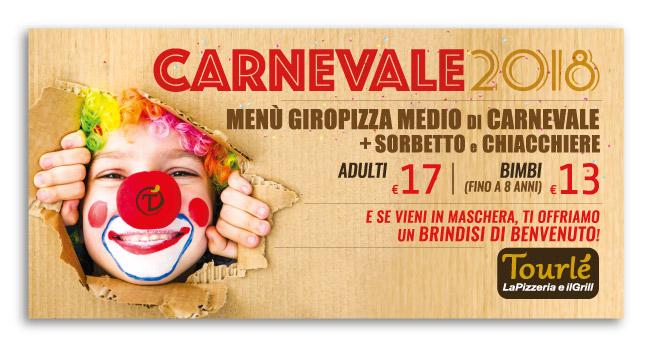 Grafica Flyer campagna Carnevale e San Valentino 2018 per Tourlé