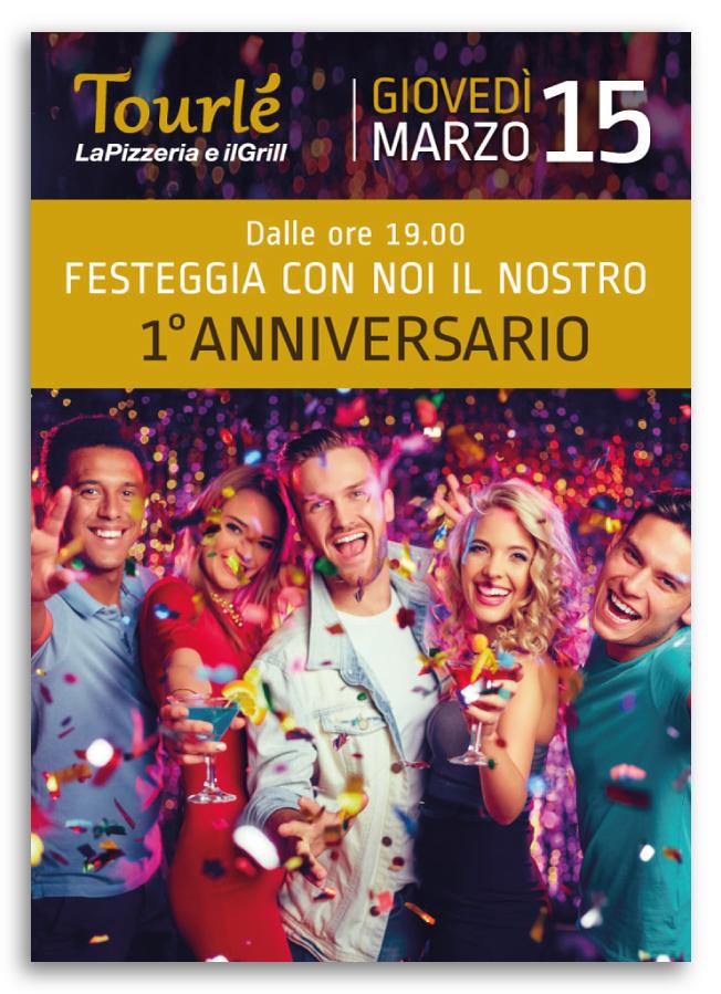 Grafica Flyer speciale Anniversario Tourlé LaPizzeria e ilGrill Buccinasco