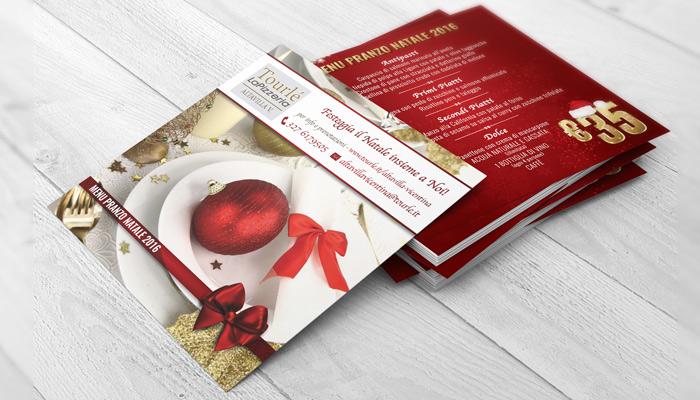 Brochure Desing realizza la grafica del flyer Natale 2016 per Tourlé LaPizzeria e ilGrill (1)