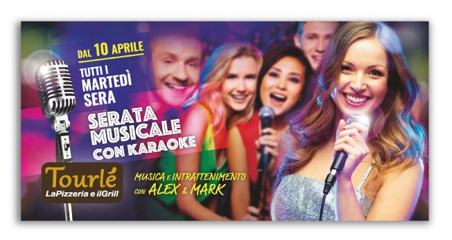 Grafica Flyer Serata Karaoke Tourlé LaPizzeria e ilGrill Inzago