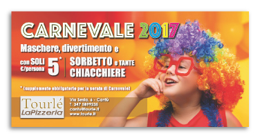 Grafica Flyer campagna Carnevale e San Valentino 2017 per Tourlé